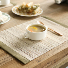 Zakka Style Export Japan Green Rim Strip Handmade Ramie Placemat Tea Cup Mat Insulation Mat Placemats For Table Dining Coasters