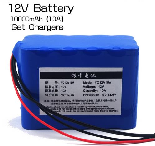 100% New Protection Large capacity 12 V 10Ah 18650 lithium Rechargeable battery pack 12v 10000 mAh capacity<br>