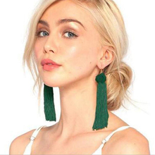 KMVEXO New Braided Bohemian Tassel Earrings Fashion Green Fringes Gold Drop Earrings brincos de gota feminino Hanging Earring(China)