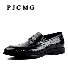 PJCMG Black/Red/Blue Crocodile Pattern Men Loafers Genuine Leather Casual Men Flats Oxford For Moccasin Driving Man Shoes