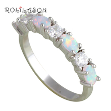 2.09g Zirconia Fashion Jewelry Popular White Fire Opal Silver Stamped Party Rings for Girls USA #6#7#8#9 OR698