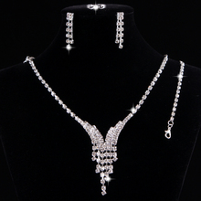 Promotion 4 pcs/lot Silver Plated Strip Crystal Necklace Earrings Fashion Jewlery Set Wedding Jewelry set Christmas Gift