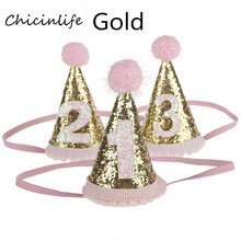 Chicinlife 1pcs Number 1/2/3 Mini Baby Birtdhay Hat Baby Girl Boy Birthday Party Hair Accessories Baby Shower Favor(China)