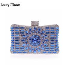 New 2015 glass diamond silver evening bags top quality gold clutch bag elegant blue bag party wedding bridal purse w641(China)