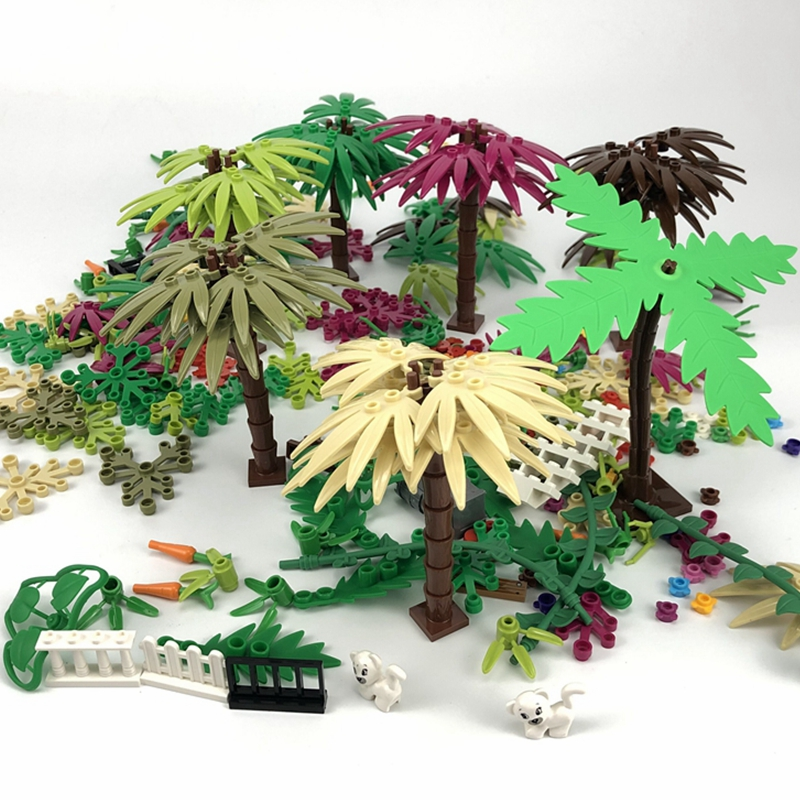 Creator City Green Bush Flower Grass Tree Plants Leaves Lotus leaf Animal Cat Creative Accessories Block MOC Toy For Kids Cities