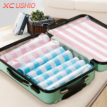 2pcs/lot Stripe Style Manually Vacuum Compressed Bag Travel Waterproof Storage Bag Space Saver Seal Bags Clothes Organizer Case