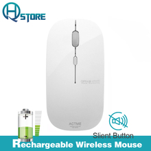 AZZOR Rechargeable Wireless Mouse T5 Slient Button Ultra thin Mute Optical Mouse Slim with Charging Cable for Computer Laptop