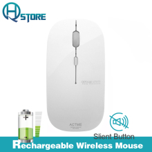 AZZOR Rechargeable Wireless Mouse T5 Slient Button Ultra thin Mute Optical Mouse Slim with Charging Cable for Computer Laptop(China)