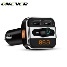 ONEVER Bluetooth Car Kit Music Player FM Transmitter Modulator with 3.4A Dual USB Charger Support Folder Switch/ TF Card Play(China)