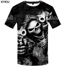 KYKU Brand Skull T shirt women Skeleton T-shirt gun Tshirt Gothic Punk vintage rock t shirts 3d t-shirt anime Womens clothing(China)