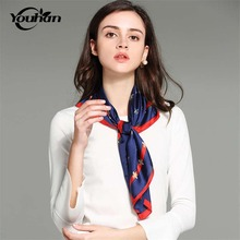 YOUHAN 2017 New Small Square Natural Women Satin Scarves Autumn Luxury Brand Woman Neck Scarf for Bags Bandana Hijab(China)