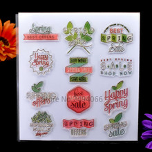Spring BEST OFFERS Happy Spring Scrapbook DIY photo cards account rubber stamp clear stamp transparent stamp 15x16cm KW7041842