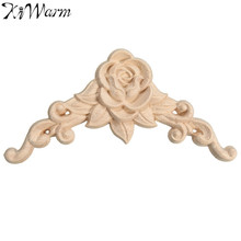 KiWarm 1PC Woodcarving Decal Corner Applique Frame Door Decorate Wall Doors Furniture Decorative Figurines Wooden Miniatures