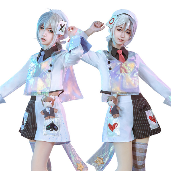 Laser boy Anime Cosplay Costume twin girls white Top+Pants+Hat Sweety and Cute Full Sets