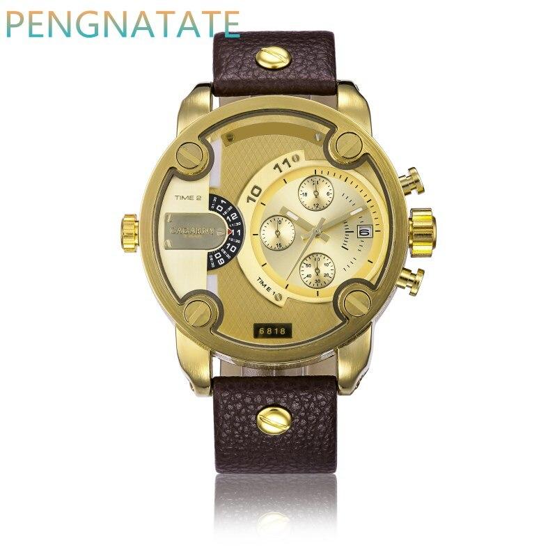 CAGARNY Men Quartz Clock Watches Fashion Man Luxury Watches Sport Gold Military Dual Time Zone Display Calendar Watch PENGNATATE<br><br>Aliexpress