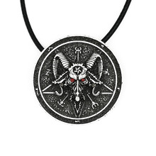 1pcs 4016 Baphomet Amulet Sabbatic Goat Necklace Pendant Protection Talisma Wiccan Pendant Pagan Magical Ritual Jewelry(China)