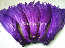 Free shipping 1000pcs deep purple Rooster Tail Feather 35-40cm 14-16 inches Chicken Feather Cock Tail Feathers(China)