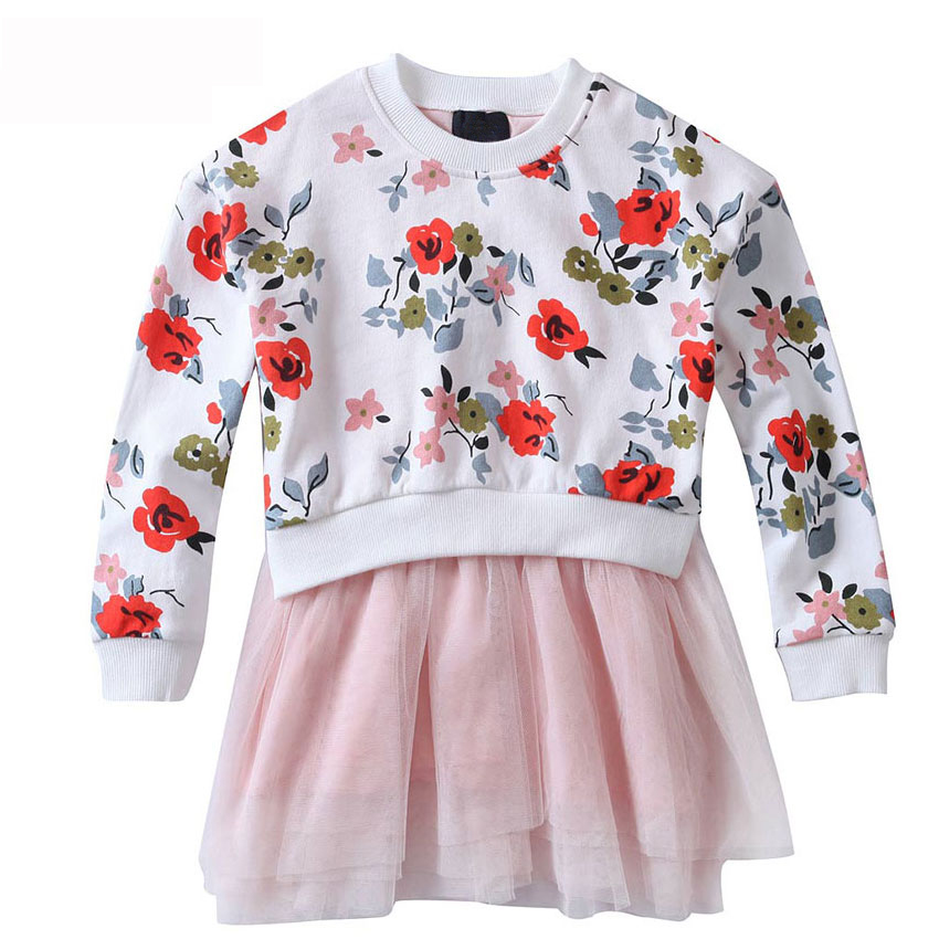 girl dress children clothing long sleeve dress printed lovely girl for girls kids princess dress children tutu party dress<br>