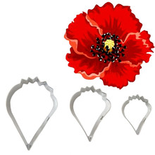 BXG312 Metal Stainless Steel Tools Poppy Petals Flower Cookie Cutters Set Home Furnishing Products Kitchen Baking Supplies