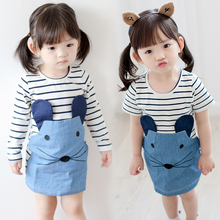 2017 Korean Baby Kids Cartoon Mouse Dress Little Girls Fashion Striped Denim Spliced Long-Sleeve Dresses Children One Piece G858