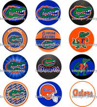 NCAA FLORIDA GATORS  glass Snap button Charm Popper for Snap Jewelry  good quality  picture pendant  Gl407  BOBOSGIRL