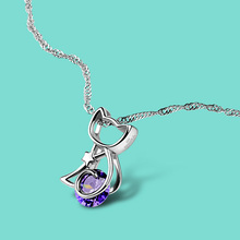 925 sterling silver necklace Female silver necklace Purple crystal Mosaic cat pendant silver necklace girl To send girlfriend