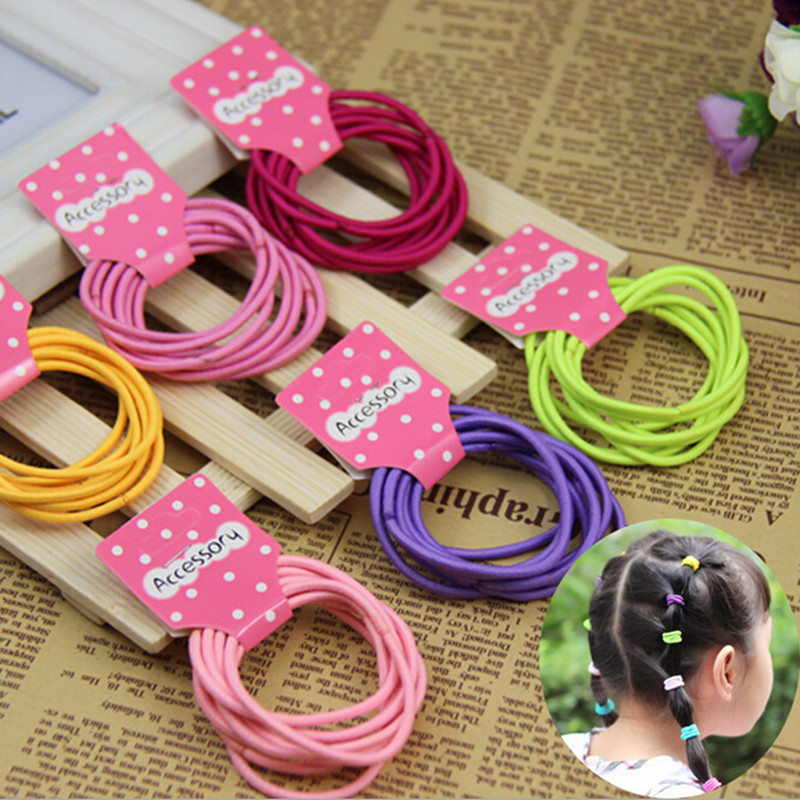 LNRRABC 10 pcs lot Cheap korean Elastic Hair Rope Ponytail Holder Girls Hair Accessories free shipping