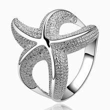 Big Promotion Fashion Women Jewelry Silver Plated Female Jewelry Chic Curvy Starfish Lovely Party Ring Size 7 8