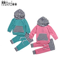 Baby boy girl clothes kids long sleeve hoody pants striped toddler sport suit infant tracksuit casual newborn clothing set best