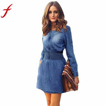 Buy 2017 New Vintage Spring Autumn Sexy Dress Women Long Sleeved V Neck Slim Casual Denim Jeans Party Mini dress vestidos for $11.59 in AliExpress store