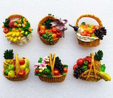 Handmade Painted Fruit Basket 3D Fridge Magnets World Travel Souvenirs Refrigerator Magnetic Stickers Home Decoration