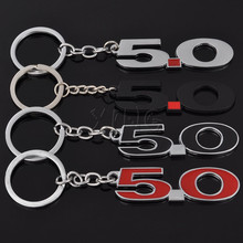 Fashion Metal 5.0 Car Keychain Key Chain Keyring Auto Styling Key Ring For Ford Mustang GT 500 Cobra Land Rover SUV Keyfob(China)