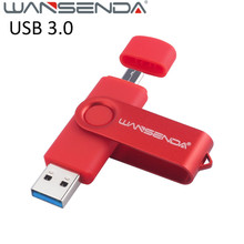 Hot Wansenda 128gb usb 3.0 Android OTG USB Flash Drive 64gb otg 3.0 Pen Drive 8gb usb stick 16gb Pendrive 32gb USB Memory Stick(China)