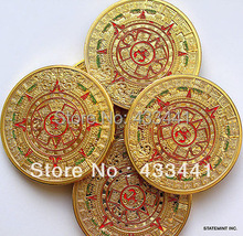 free shipping5 PCS/LOT PROPHECY CALENDAR 2012  MINT MAYAN AZTEC GODS GOLD clad COIN