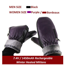 7.4V Rechargeable Lithium Battery Electric Heating Warm Gloves Winter Outdoor Motorcycling Skiing Mittens Black Purple Bordeaux