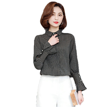 Elegant Women's Vertical Striped Shirts Woman Black Yellow Pinstriped Tops Ruffle Sleeve Shirts Lady Chic Style Office Outfits