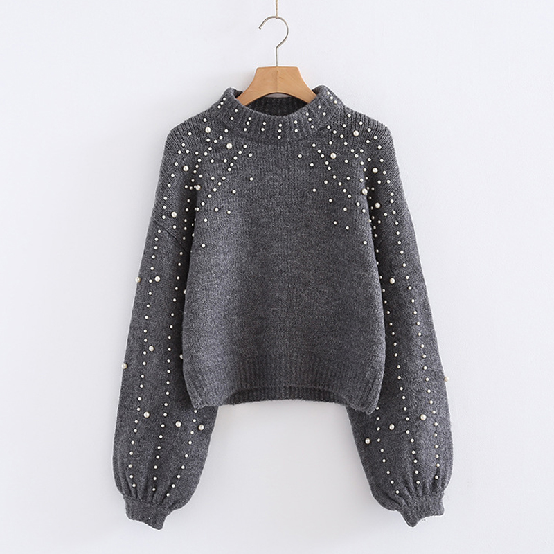 Autumn and Winter Spring Women Pullover Sweaters Grey Elegent Pearl Beaded Rib Knit Stand Collar Long Sleeve Tight lanterns cuff