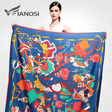 [VIANOSI] Silk Square Scarf Women Shawl High Quality Print Flower Big Size 130*130CM Fashion Soft Scarves Brand Hijab VA050