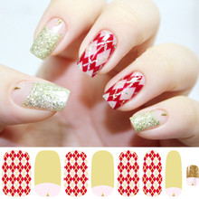 5PCS Beauty Red White Hot stamping 3D Nail Art Stickers Decals For Nail Tips Decorations New Design
