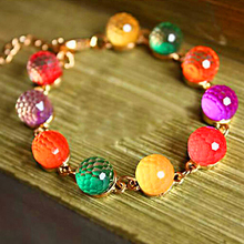 2016 Women's Colorful Candy Beads Golden Tone Crystal Chain Bangle Cuff Bracelet 7G2N 89PF