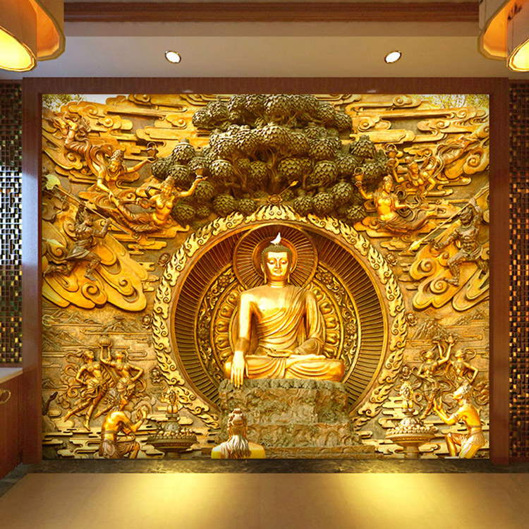 Free Shipping Golden Buddha Buddhist Temple Mural Custom Large Living Room Screen Background Wall Wallpaper 3D Stereo Wallpaper<br><br>Aliexpress