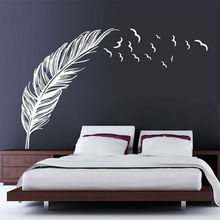 Birds Flying Feather Wall Sticker Home Bedroom Living Room Decal Stiker Art Decoration Vinyl Window Wall Sticker Drop Shipping