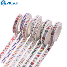 AAGU 1PC 8mm*7m 8 Patterns Flower Gift Christmas Skinny Washi Tape Lovely Cartoon High Viscosity Decorative Sticker Masking Tape(China)
