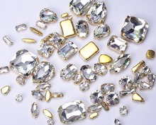 Fancy crystal rhinestone!many sizes Sew On Rhinestones Flatback With gold claw setting Sewing Crystal Stones button 20pcs/lot(China)
