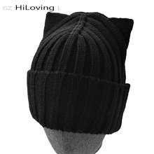 2016 American Fashion Brand Wool Crochet Beanie Knitted Cap Hat Winter Knitted Hat With Cat Ears For Womens Bonnet Hat Skullies(China)
