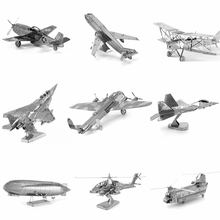 Metal 3D Puzzle DIY Airplane Aircraft Military Helicopter Model Toy For Adult/Kids Boeing 747 Space Shuttle Metallic Earth Model
