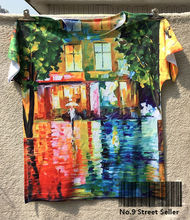 Track Ship+New Fresh Hot T-shirt Top Tee Abstract Painting Raining White Cloth Person Umbrella on Street 0347