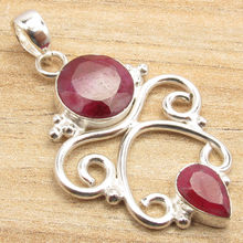 Red rubi 2 Stone Gift !  Silver Plated Pendant Fabulous Fashion Jewelry ART