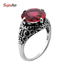 Szjinao Fashion Red Stone Luxury Brand Ring Vintage Silver 925 Jewelry Medusa Rings For Women Valentines Day Gift Anel(China)