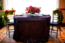 10PCS Embroidered Purple Sequin tablecloth 120 round table cover for wedding/Party/Banquet Decor elegant table Cloth(China)